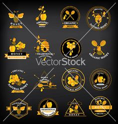 Set honey badges and labels abstract bee design vector  by Marchie on VectorStock®
