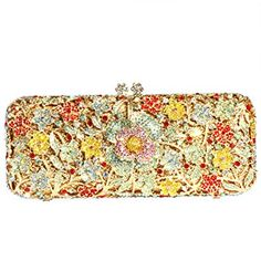 14501bec06 Digabi Flowres Pattern Rectangle Shape Women Crystal Evening Clutch Bags  Review