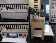 Top 10 Ingenious Ways to Hide Your Cat's Litter Box - bunny litter box idea + put chinchilla cage on top