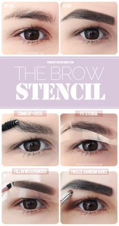 With the spooly, comb your brow hairs up and over.  Fit the stencil precisely where you want the shape of the brow to be, paying attention to the position of your own natural arch.  With the stiff-angled brush, fill inside the stencil by shading the powder using small quick strokes.  Let the new brow shape be your guide to stray any random hairs that are not part of it.