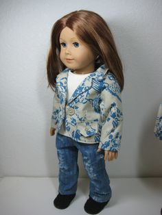 18 inch Doll Clothes American Girl Twill Blue and Taupe Jacket.via Etsy.