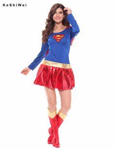 KESHIWEI Woman Superhero Adult Costume Fancy Dress Outfit Halloween Super Girl Superwoman Costume For Halloween