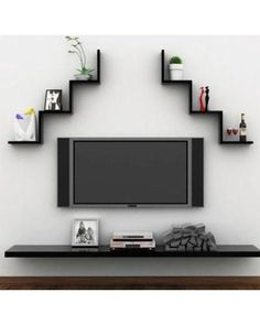 Fosa 3 Colors Creative Floating Wall Shelf Rack Hanging Bookshelf Home Decor(Red), Home Decor,Floating Wall Shelf Image 1 of 1 Wall Shelf Rack, Wall Mounted Shelves, Shelf Display, Tv Shelf, Tv Unit Decor, Wall Shelf Decor, Tv Decor, Room Decor, Tv Wall Design