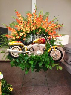 Motorcycle Tribute, funeral flowers