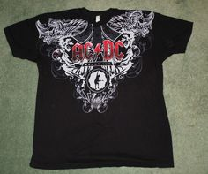Men's Black, Red, Grey AC/DC BLACK ICE Graphic Logo Short Sleeve Shirt, Size L #AlstyleApparel #CrewNeckGraphicPullOver
