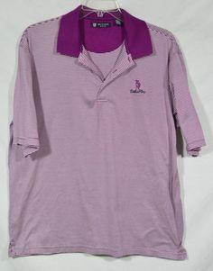 OXFORD GOLD Purple White Stripe Polo Shirt XXL Short Sleeves Fiddler's Elbow #OxfordGolf #PoloRugby