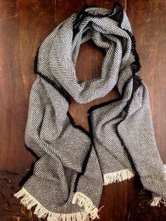 Mens Scarf - Black Herringbone Wool Scarf - Black Tweed Stole Large Winter Scarf Mens Accessories Pashmina- Gift for Him - Made in England by CardamomClothing on Etsy