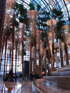 Magical Christmas lights in the Winter Garden Atrium - Battery Park City, NYC New York Christmas, Magical Christmas, Christmas Lights, Xmas, Atrium, Park City, New York Weihnachten, A New York Minute, Backyard Trees