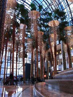 Magical Christmas lights in the Winter Garden Atrium - Battery Park City, NYC New York Christmas, Magical Christmas, Christmas Lights, Xmas, Atrium, Park City, Manhattan, A New York Minute, Backyard Trees