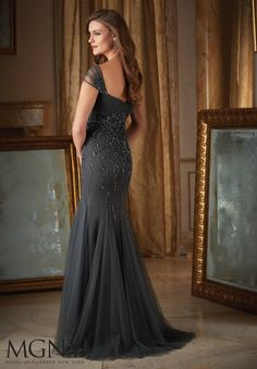 Intricate Beading on Net Mother of the Bride Dress Designed by Madeline Gardner. Colors available: Charcoal, Eggplant