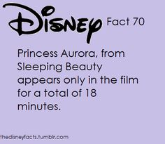 Disney Fact #70: Princess Aurora, from Sleeping Beauty appears only in the film for a total of 18 minutes.