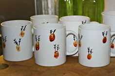 Dishwasher safe Reindeer thumbprint mugs Diy Christmas Mugs, Christmas Crafts For Toddlers, Toddler Christmas, Homemade Christmas Gifts, Christmas Activities, Homemade Teacher Gifts, Preschool Christmas, Xmas Gifts, Kids Crafts