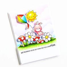 Stamps: Under My Umbrella, Garden Plushies, Balloon Bunch Buddies / Stencils: Cloudy Day Under My Umbrella, Cloudy Day, Clear Stamps, Diy Cards, Plushies, Card Ideas, Stencils, Balloons, Alcohol