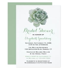 Floral Mint Green Bridal Shower Succulent Cactus Card - bridal shower gifts ideas wedding bride