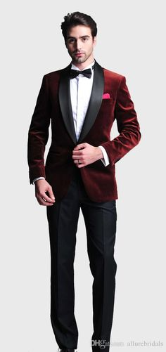 Cheap tie boy, Buy Quality tie perfect bow dress directly from China tie phantom Suppliers: Burgundy Velvet Slim Fit 2015 Groom Tuxedos Wedding Suits Groomsmen Best Man Prom Suits Black Pants (Jacket+Pants+Bow Ti Groom Tuxedo Wedding, Wedding Men, Wedding Suits, Wedding Coat, Prom Tuxedo, Wedding Tuxedos, Trendy Wedding, Mens Fashion Suits, Mens Suits