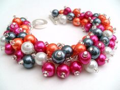 Hot Pink and Orange Pearl Beaded Bracelet Wedding by KIMMSMITH