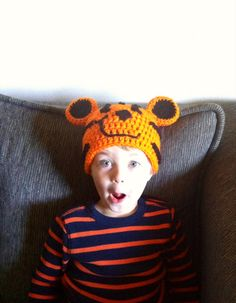 Happy Tiger Beanie by EnglishHouseCrafts on Etsy, $20.00