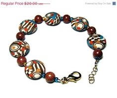 SALE Op Art Canework Lentil Bead Polymer Clay by SweetchildJewelry, $18.00
