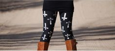 Black Faded Cross Leggings Womens Leggings Printed by 1215Clothing