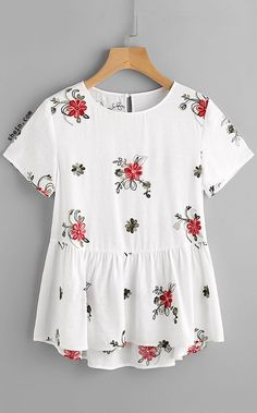Flower Embroidered Keyhole Back Smock Top