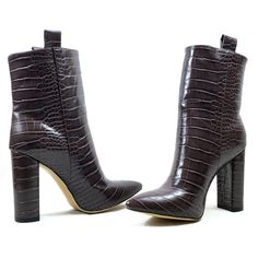 High Ankle Boots, Block Heel Ankle Boots, Ankle Heels, Block Heels, Crocs Boots, Short Boots, Crocodile, Leather Boots, Peep Toe