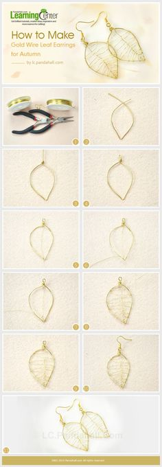 How to Make Gold Wire Leaf Earrings for Autumn #Wire #Jewelry #Tutorials by janis