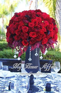 red wedding flowers by My Flower Affair. services Southern CA. Red Wedding Flower Arrangements, Red Wedding Decorations, Tall Wedding Centerpieces, Centerpiece Decorations, Floral Arrangements, Wedding Bouquets, White Wedding Flowers, Red Flowers, Red Roses
