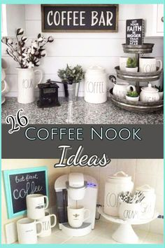 DIY Coffee Bar Ideas - Stunning Farmhouse Style Beverage Stations for Small Spaces and Tiny Kitchens - Decluttering Your Life Coffee Nook Ideas - 26 coffee station ideas you can copy in your kitchen Coffee Counter, Coffee Bars In Kitchen, Coffee Bar Home, Home Coffee Stations, Beverage Stations, House Coffee, Coffee Station Kitchen, Coffee Area, Coffee Nook