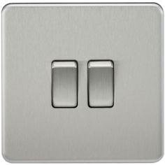 Knightsbridge Screwless 10A 10 Amp 2G 2 Gang 2 Way Toggle Light Switch Plate