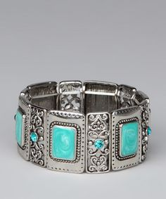 Take a look at this Silver & Blue Rectangle Filigree Stretch Bracelet by Jewelry Box: Beautiful Bracelets on #zulily today!