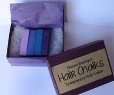 Purple/Periwinkle Colored Hair Chalks - 4 Pack - Temporary Color Pastels, Shades of Purple & Periwinkle Blue