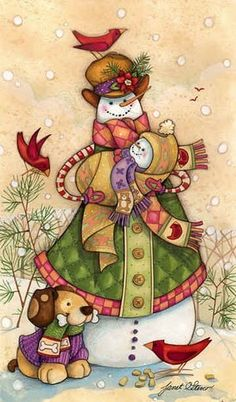 Snowdaddy & Snowbaby with Puppy by Janet Stever winter, snowman, Christmas, holiday art Christmas Pictures, All Things Christmas, Christmas Holidays, Illustration Noel, Christmas Illustration, Christmas Snowman, Christmas Crafts, Christmas Ornaments, Clipart Noel