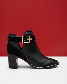 Cut-out leather ankle boots - Black   Shoes   Ted Baker