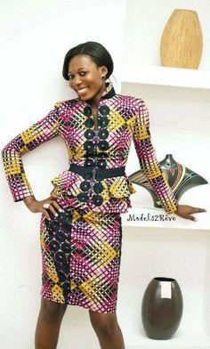 Photos ensemble tailleur en pagne africain
