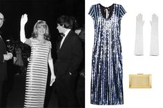 A sequin-striped sheath - At a 1966 screening Marc Jacobs knee-length dress, $1,579; yoox.com; Vetements elbow-length zip glove, $475; lagarconne.com; Collection by John Lewis metal box clutch bag, $93; johnlewis.com