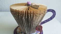 Folded Book Paper tea Cup, tea party, altered art,tea lover gift, book art…