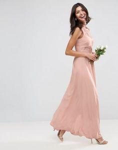 ASOS DESIGN Bridesmaid lace top pleated maxi dress Vestido Largo Plisado d45fb62d940