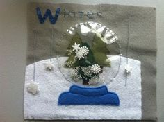 Quietbook winter page: with snowglobe and snowflakes that move up and down on threads.