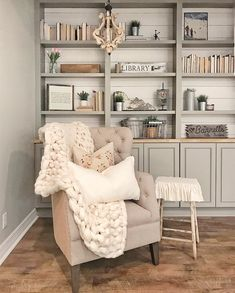 Love this reading nook. Love the paint color of built in bookcase