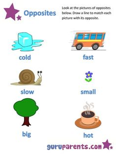 Use this range of opposites worksheets to help teach your preschooler some simple opposite concepts. Teaching your child opposites is a great way to improve you(. Opposites Preschool, Opposites Worksheet, Preschool Writing, Preschool Learning Activities, Nursery Worksheets, Printable Preschool Worksheets, Phonics Worksheets, Kindergarten Worksheets, Lkg Worksheets