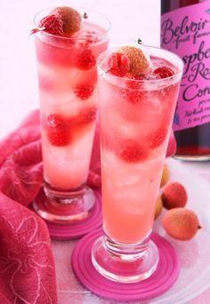 Raspberry Blush | Hendricks Gin, raspberries Belvoir Raspberry & Rose Cordial, lychee juice & lime wedges.