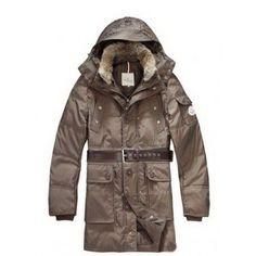 $326.38 moncler chamonix,Moncler Men Fur Collar Long Down Coats In Brown monclercheap4sale...