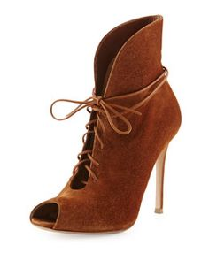 X2AUB Gianvito Rossi Suede V-Neck Lace-Up Bootie, Luggage/neiman marcus