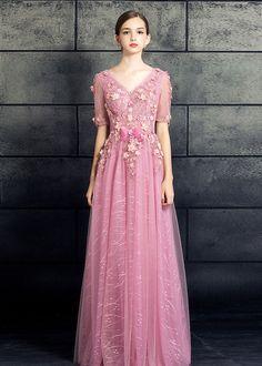 Eleganta deep V-ringning nya rosa balklänning Quince Klänningar 222d4ece89357