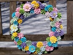 """Pine Cone Wreath, Pastels.  New unique wreath with painted pine cones in pretty pastels and a few Pine cone """"flowers"""".  Easter, spring.  www.etsy.com/shop/NaturesCraftSupply"""