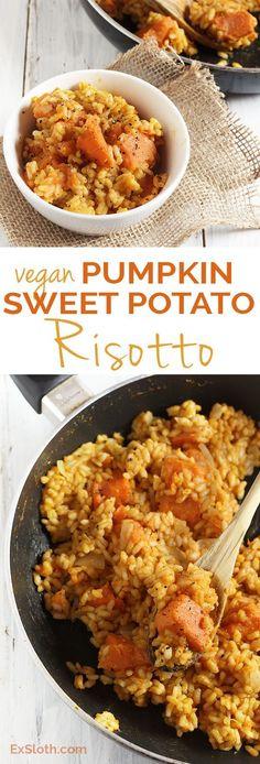 Vegan Pumpkin Sweet Potato Risotto via /ExSloth/ | http://ExSloth.com
