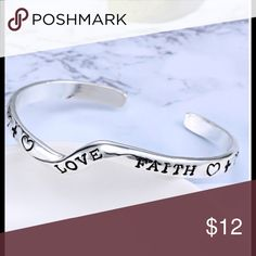 Women's silver bracelet bangle love faith cuff This is a brand new letter bangle fashion women silver love faith family & friend bracelet charm.  Would make an excellent gift for mom daughter teacher friend 🎀🎀🎀 length inches approx 7.2 Metal Alloy.  Thank you. This item is brand new in package. Jewelry Bracelets