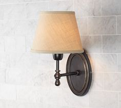 Sausalito Single Sconce Base | Pottery Barn for guest bedrooms.  Need to buy shades too