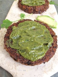 Spicy Black Bean Quinoa Patties with Guacamole - gluten free and vegan | http://TastingPage.com