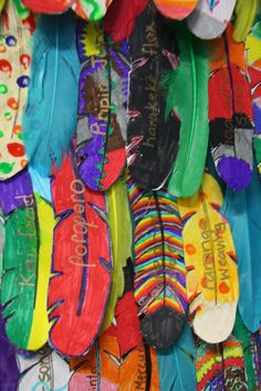 Fab Five have been busy creating feathers for our Korowai (cloak) of Knowledge. The feathers have the te reo Maori vocabulary we have come. Waitangi Day, Fab Five, New Zealand Art, Teachers Aide, Maori Art, Cloak, Wearable Art, Feathers, Wings